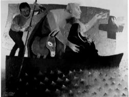 Arcabas - La fuite en Egypte (en noir et blanc par respect pour l'artiste et ses éditeurs)